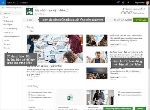 Trang chủ site nhóm SharePoint Online