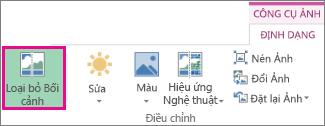 Nút Loại bỏ Nền trong nhóm Điều chỉnh trên thẻ Định dạng Công cụ ảnh