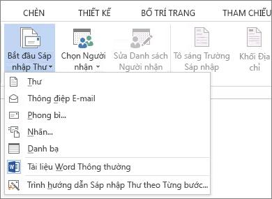 Ảnh chụp màn hình tab Gửi thư trong Word, hiển thị lệnh Bắt đầu Phối Thư và danh sách các tùy chọn có sẵn cho loại phối bạn muốn chạy.