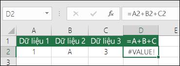 Ví dụ xây dựng công thức kém.  Công thức trong ô D2 là =A2+B2+C2