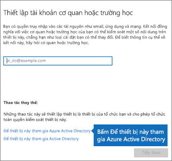 Bấm vào Để thiết bị này tham gia Azure Active Directory