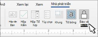 Nút bảo vệ biểu mẫu trên tab nhà phát triển
