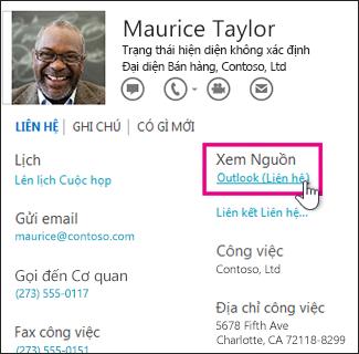 Nối kết Xem Nguồn Outlook trong thẻ liên hệ