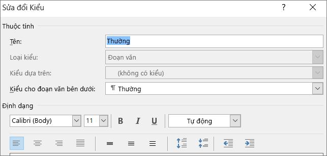 Sửa đổi Định dạng Kiểu trong Word