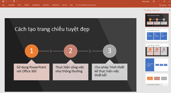 PowerPoint Designer chuyển văn bản theo hướng tiến trình thành đồ họa.