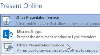 Trình bày Trực tuyến bằng cách dùng Dịch vụ Bản trình bày Office