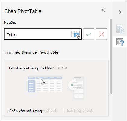 tạo pivottable để phân tích dữ liệu trang tính