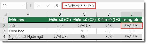 Lỗi #VALUE! lỗi trong trung bình