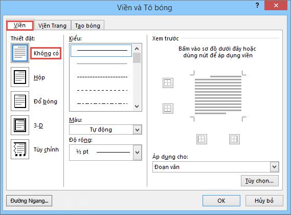 Hộp thoại Viền và Tô bóng trong Outlook 2010