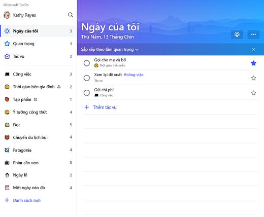 Ảnh chụp màn hình hiển thị danh sách thanh bên và danh sách ngày của tôi trong Microsoft To-Do
