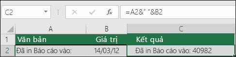 Ví dụ về việc ghép văn bản không sử dụng hàm TEXT