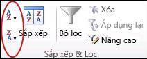 Các nút Sắp xếp trong nhóm Sắp xếp & Lọc trên tab Dữ liệu trong Excel