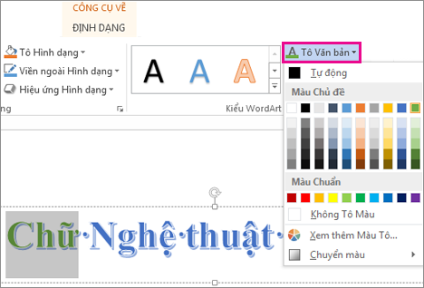 Thư viện Màu Tô Chữ trên tab Định dạng Công cụ Vẽ