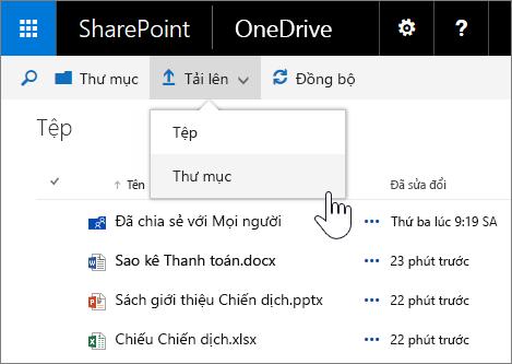 Ảnh chụp màn hình về hoạt động tải lên một thư mục trong OneDrive dành cho doanh nghiệp trong SharePoint Server 2016 với Gói Tính năng 1