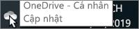 Một ảnh chụp màn hình hiển thị con trỏ đang di qua biểu tượng OneDrive màu trắng, kèm theo văn bản OneDrive - Cá nhân.