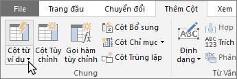 Hiển thị nút Cột Từ Ví dụ trên tab Thêm Cột của Trình soạn thảo Truy vấn