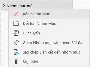 Xóa nhóm mục trong ứng dụng OneNote for Windows 10