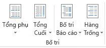 Tùy chọn Bố trí trong nhóm Bố trí trên tab Thiết kế