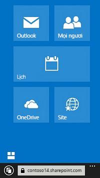Sử dụng các lát xếp dẫn hướng Office 365 để đi đến site, thư viện và email