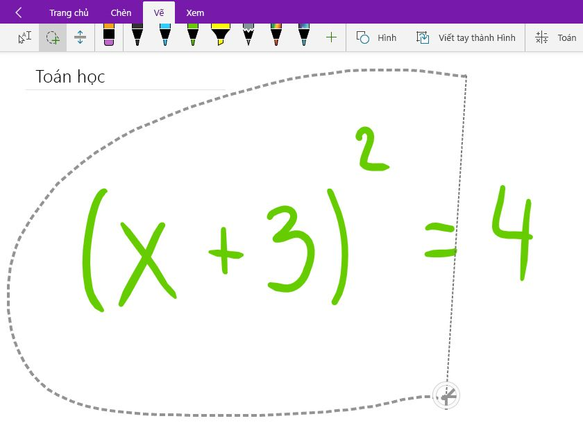 Cách chọn bằng dây phương trình toán học viết tay