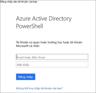 Nhập thông tin xác thực người quản trị Azure Active Directory của bạn