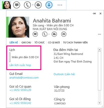 Ảnh chụp màn hình của thẻ liên hệ và liên hệ QuickLync có lịch và tùy chọn lên lịch cuộc họp được tô sáng