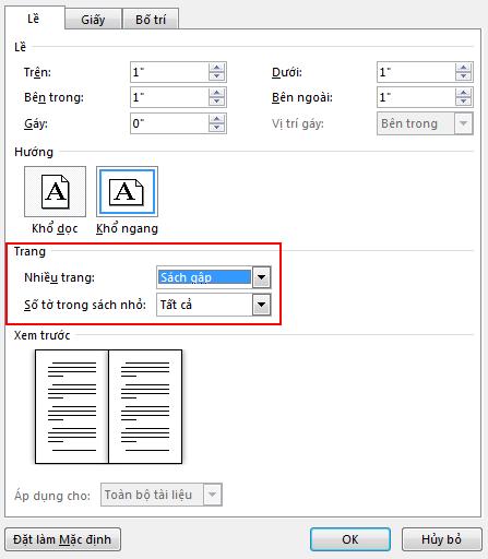Trên tab Lề bên dưới Trang, hãy thay đổi thiết đặt cho Nhiều trang: thành Sách gập. Hướng thay đổi thành Ngang.