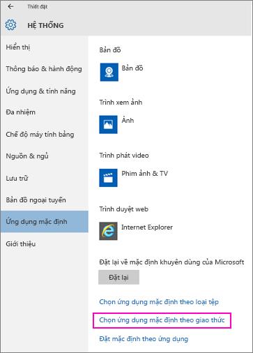 Ảnh chụp màn hình của thiết đặt Đặt Mặc định theo Ứng dụng trong Windows 10.
