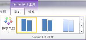[SmartArt 工具] 之下 [設計] 索引標籤上的 [SmartArt 樣式] 群組