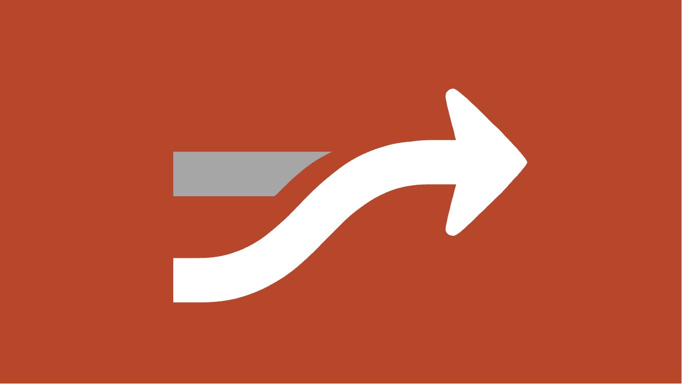 向上和向右弯曲的箭头的插图