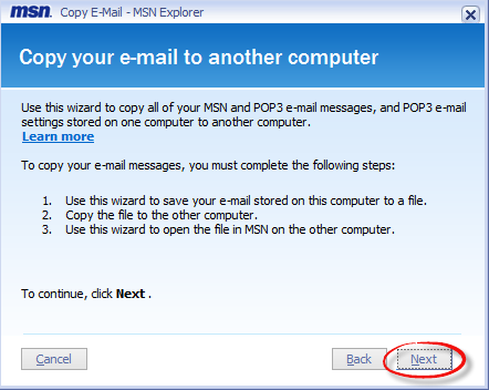 Copy your email to another computer