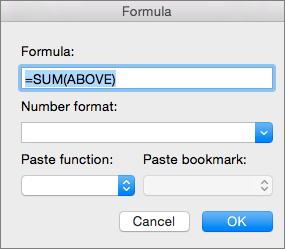 """""""公式""""框显示用于为一列求和的公式"""