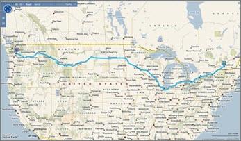 显示从西雅图到蒙特利尔的路线的地图