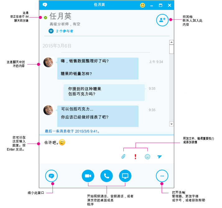Skype for Business IM 窗格,图解
