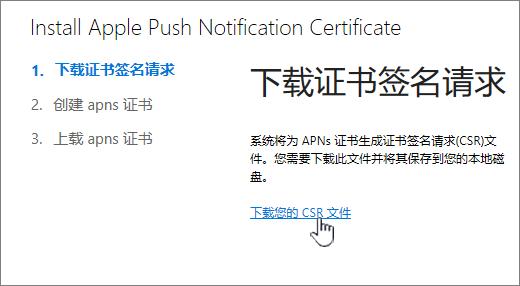 """""""安装 APN 证书""""对话框"""