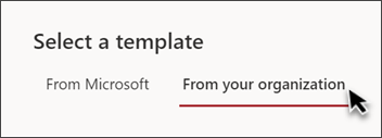 """网站模板选取器中显示""""来自您的组织""""的选项卡的图像"""