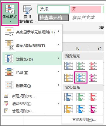 条件格式的数据栏样式库