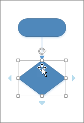 将鼠标悬停在新添加的形状上时显示用于添加另一个形状的自动连接箭头。