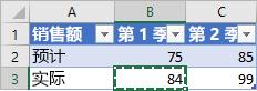 显示复制的单元格的小表格