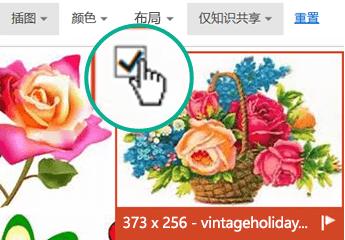 选择要插入的图片的缩略图图像。 左上角会显示一个复选标记。