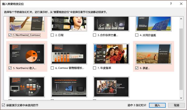 """显示 PowerPoint 中具有所选节的""""插入摘要缩放定位定位""""对话框。"""