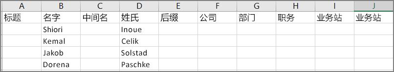 从 Outlook 导出联系人后 csv 文件的外观的示例