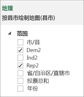 任务窗格中的范围列表