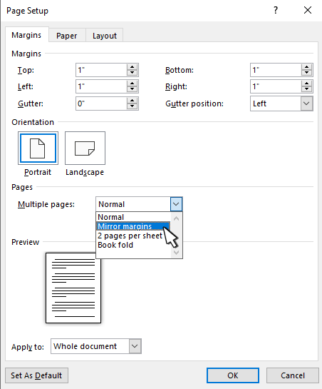 设置对称页边距