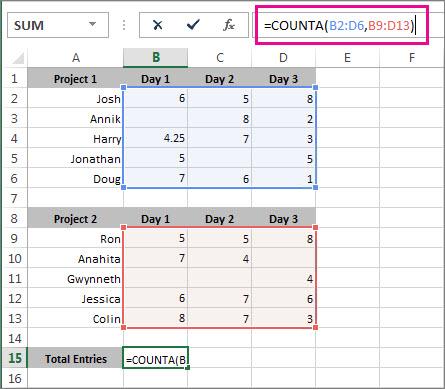 使用 COUNTA 计算 2 个单元格区域