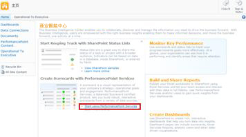"单击""开始使用 PerformancePoint Services""链接以打开 PerformancePoint 网站模板"