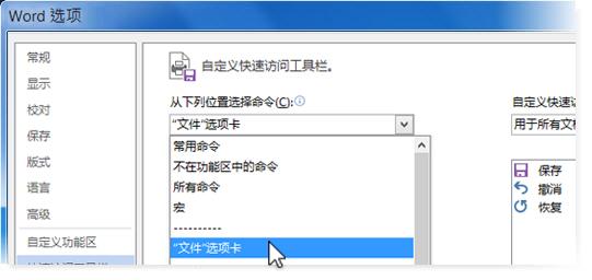 """在""""文件""""选项卡上添加命令来自定义快速访问工具栏"""