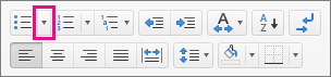 单击项目符号图标旁边的箭头以选择或添加项目符号。