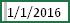 单元格中为 1/1/2016,前面带有选定空格