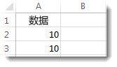 Excel 工作表中单元格 A2 和 A3 中的数据